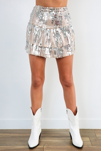 Tamyka Skirt - Blush/Silver Sequin