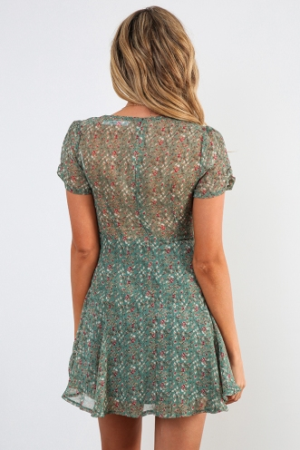 Shareen Dress - Green Print