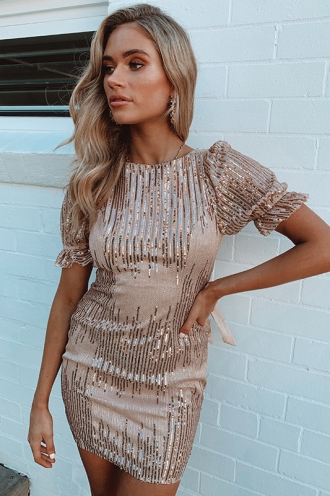 Kary Dress - Beige/Rose Gold Sequin