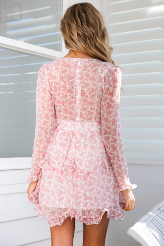 Pipa Dress - White/Blush Print