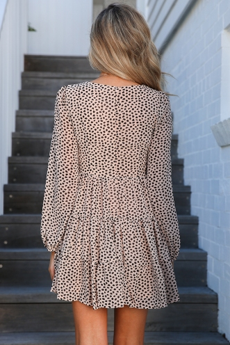 Running To The Sea Dress - Beige Print