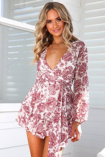 Truly Madly Deeply Playsuit - White/Red