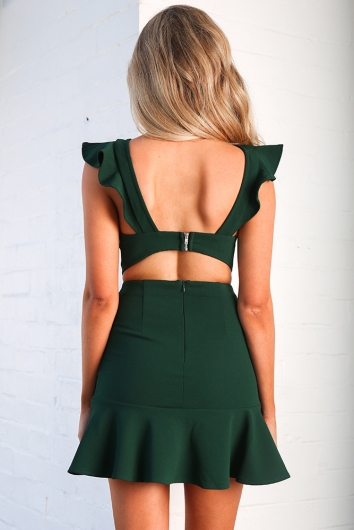 Someday, Someway Dress - Forest Green