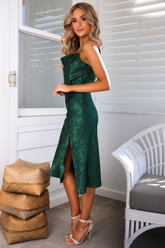 Tanya Dress - Green Brocade