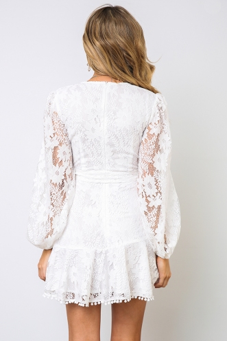 Fine Dining Dress - White Lace