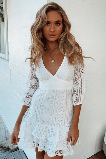 Mystery Girl Dress - White Lace