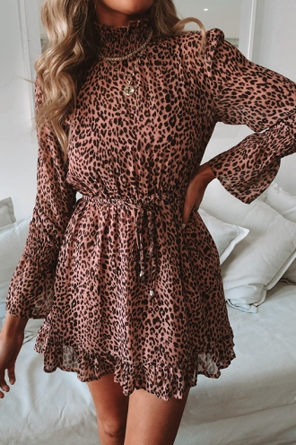 Sienna Dress - Pink Leopard