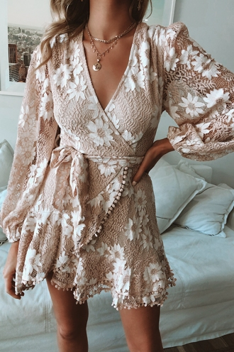 Fine Dining Dress - Nude Lace