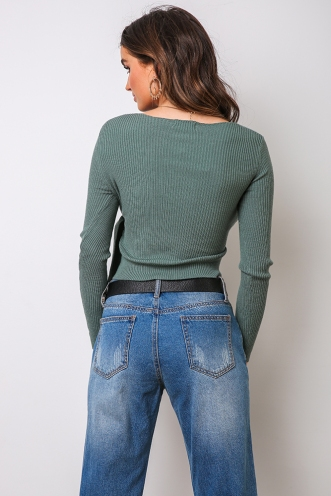 Tarnika Ribbed Top - Sage