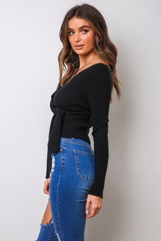Tarnika Ribbed Top - Black