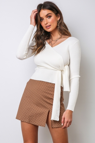 Britney Skirt - Brown Check