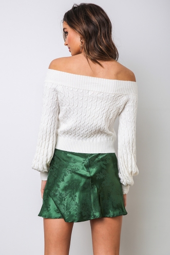 Britney Skirt - Green Brocade