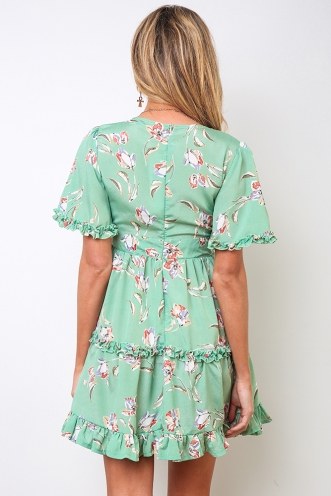 Blaire Dress - Green Print