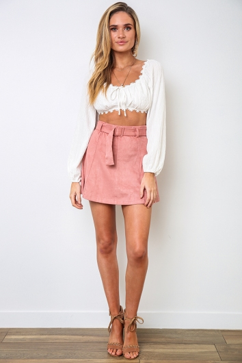 Jane Skirt - Dusty Pink Suede