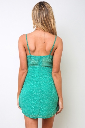 Peaches Dress - Green Print