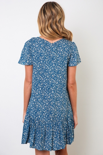Rose Thorn Dress - Blue Orange Floral