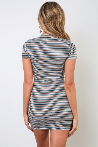 Twisted Sister Dress - Multi Stripe