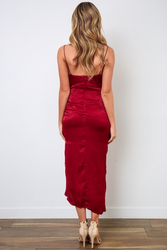 Tied To You Dress - Maroon