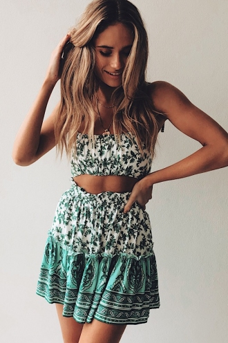 Trouble Skirt - Green Print