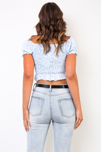 Heavy Hearted Top - Blue Floral