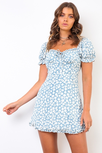Between You & I Dress - Blue/White Floral