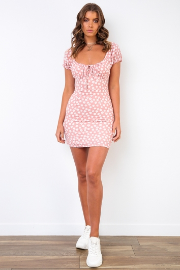 Doll Face Dress- Pink Floral Dress