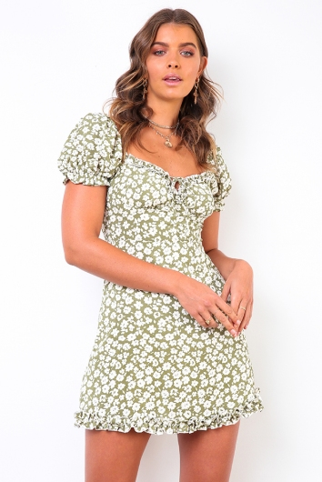 Between You & I Dress - Green/White Floral