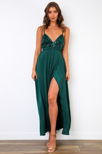 Wont Let you Fall Dress - Green Sequin