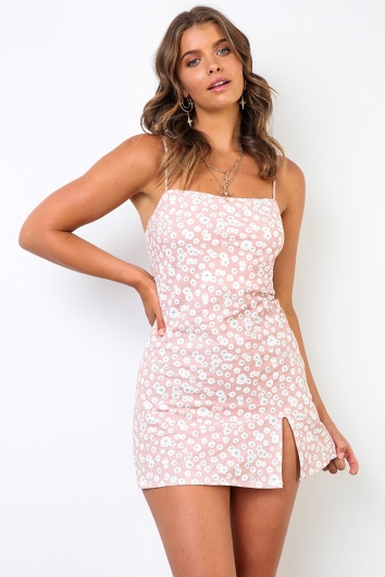 Empty Glasses Dress - Pink Floral