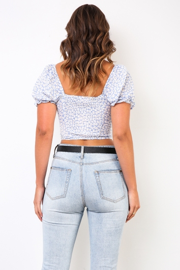Away From Me Top - Blue Floral