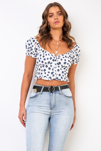Heavy Hearted Top - White Floral