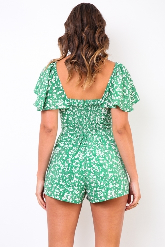 It's A Wild World Playsuit - Green Floral