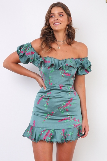 Genevieve Dress - Sage Floral