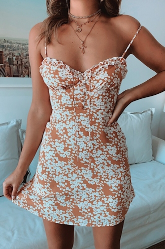 Georgie Dress - Tan Print
