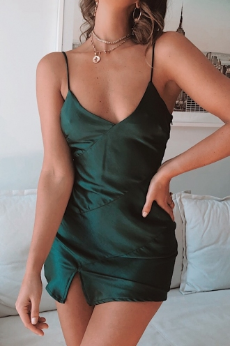 Jenna Dress - Green Silky