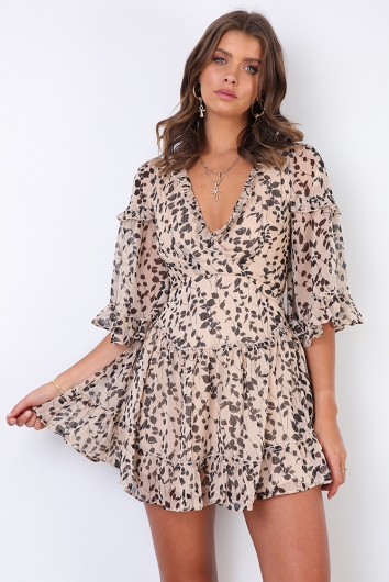 Changing Heart Dress - Beige Print