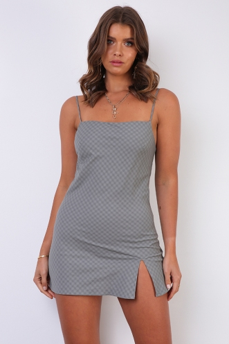 Empty Glasses Dress - Sage Check