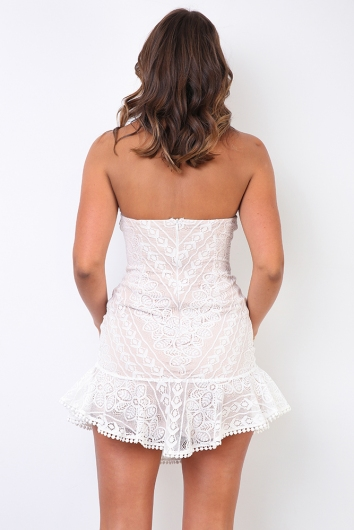 Yani Dress - Beige/White Lace