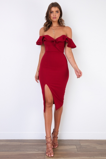 Tabetha Dress - Maroon