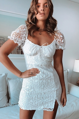 Kelsy Dress - White Lace