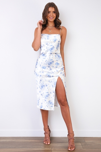 Ellen Dress - White Silky Floral
