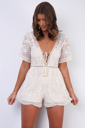 Tami Playsuit - Cream Lace