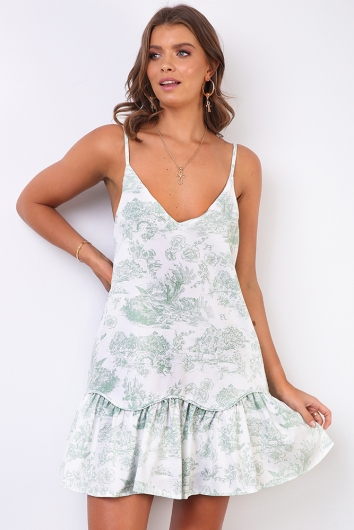 Cameron Dress - White/Green Print