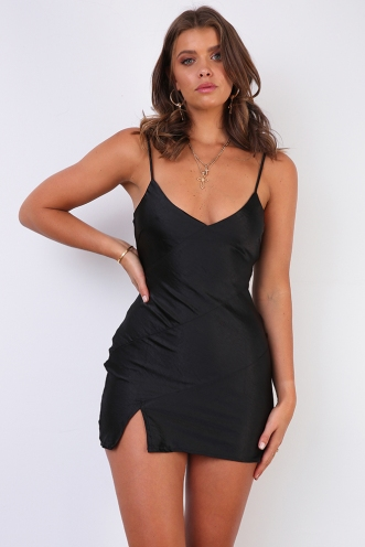 Jenna Dress - Black Silky