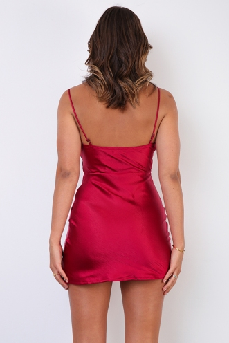 Jenna Dress - Maroon Silky