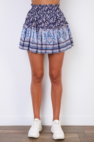 Trouble Skirt - Mix Blue Print