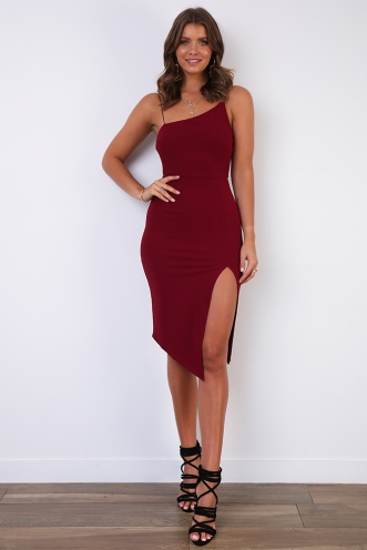 For Now Dress - Wine
