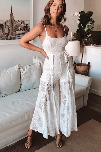 Shannyn Jumpsuit - White Lace