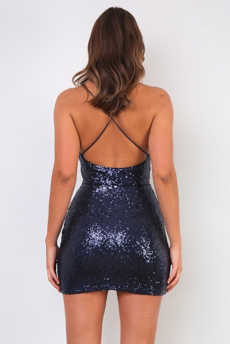 Hopeless Romantic Dress - Navy Sequin