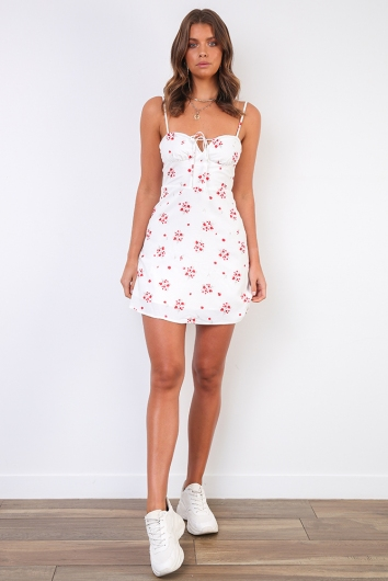 Spring In The Air Dress- White Red Floral